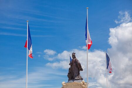 place de Verdun in Arcachon France , french flags