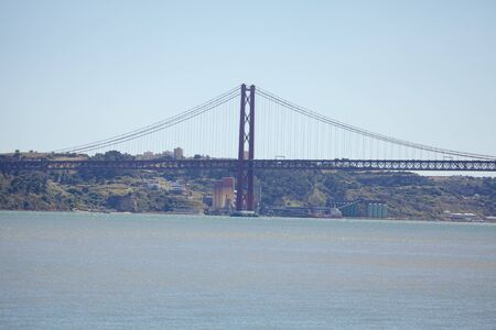 bridge from Lisbon to Almada over river Tagus
