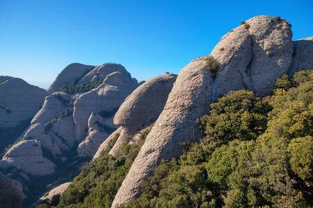 landscape of Montserrat mountains in Spain