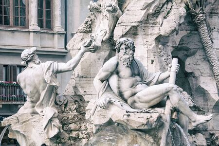 marble sculptures of Piazza Navona fountain in Rome