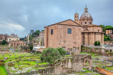 landscape of Roman forum and church in Rome