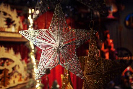 Silver star decoration for Christmas tree 스톡 콘텐츠