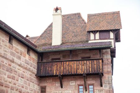 medieval wooden balcony of old church