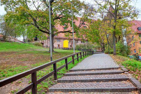 sidewalk stairs of Kaiserburg park in Nurnberg Stock fotó