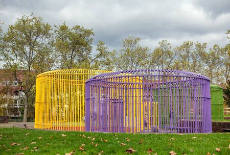 colorful decorative cages in the urban park