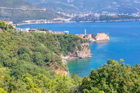 scenery of Budva Old Town and Adriatic Sea 스톡 콘텐츠
