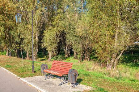bench and street lamp in the urban park