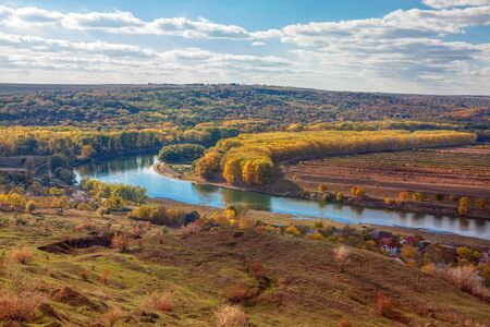 autumnal landscape of Dniester River in Moldova