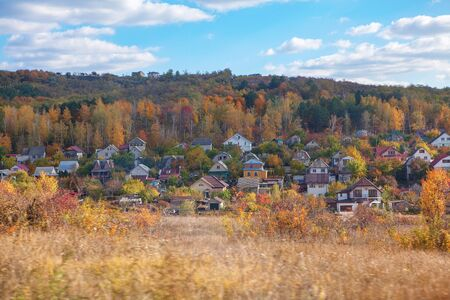 scenery of rustic settlement in the autumn