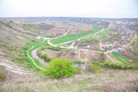 aerial landscape of rustic settlement in the spring season 스톡 콘텐츠