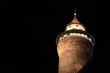 Tower of Nuremberg old town in the night
