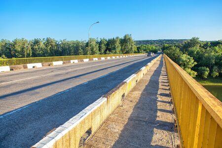 bridge over the river lane for transport and pedestrian path 版權商用圖片