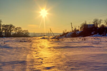 winter beautiful nature with sun reflection on the ice Stock fotó