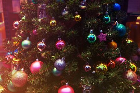 Colorful decorations on the Christmas tree