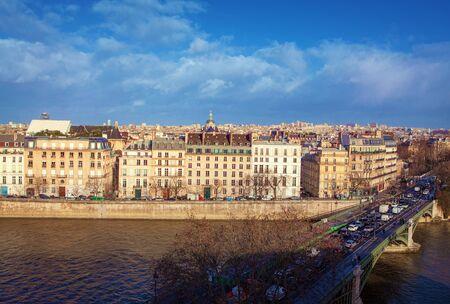 Aerial view of Pont de Sully in Paris Stok Fotoğraf