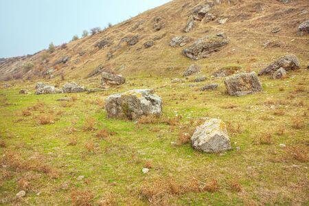 natural rocks on the green hill 版權商用圖片