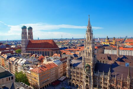 New Town Hall and Frauenkirche in Munich