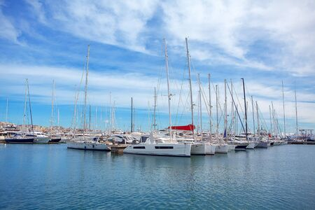 white yachts in the blue bay