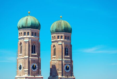 twin domes of Frauenkirche in Munich Germany