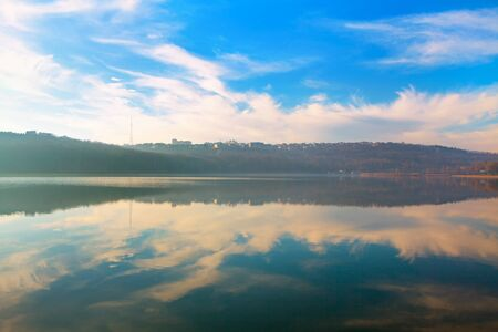scenic reflection in the lake water