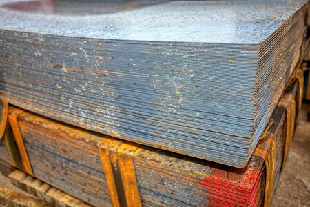 pile of steel sheets on the storage