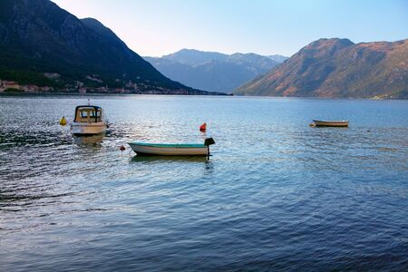 boats in the water bay, scenery with lagoon and mountains around