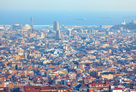 modern Barcelona panoramic cityscape view from above