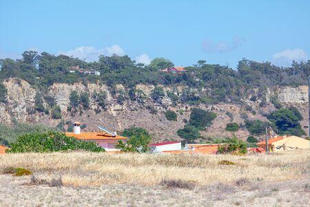 Cottages at the Costa de Caparica in Portugal Stock fotó