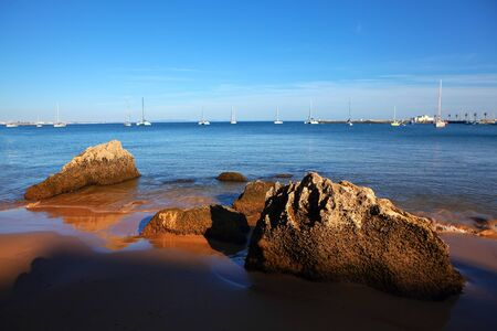 Atlantic lagoon with sailing yachts Stock fotó