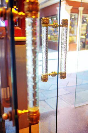 transparent door with glass handles 写真素材
