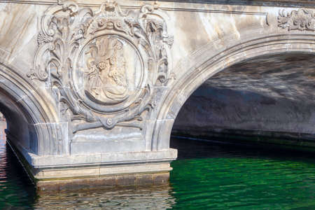 Marble Bridge Over Water Canal in Copenhagen . Marmorbroen architecture details