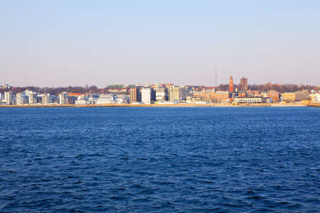 Helsingborg coastal city in southern Sweden . View from the Sea 写真素材