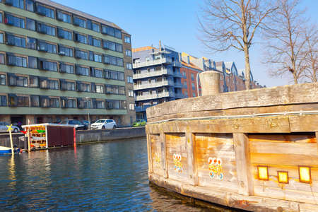 Water canal and residential district in Copenhagen 写真素材
