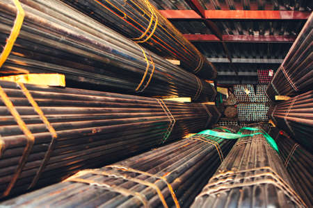 Ferrous  metal warehouse . Rolled stock steel pipes