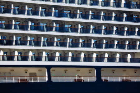 Side view of modern cruise liner cabins