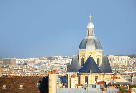 View of Paris Rooftops and Church Cupola . Paroisse Saint-Paul Saint-Louis Church in Paris 写真素材