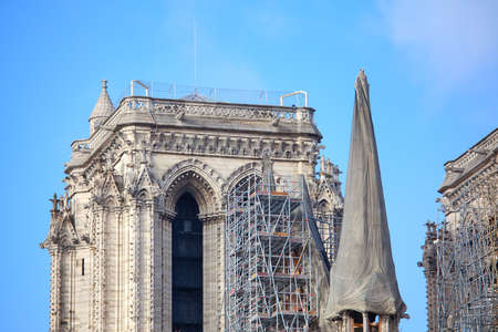 Tower of Notre Dame de Paris in Reconstruction . Famous French Cathedral after the Fire