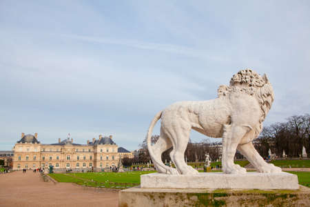 Sculpture of Lion in Luxembourg Gardens from Paris . Statue of wild animal in the park