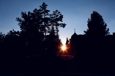 silhouette of church dome in the morning Stock fotó