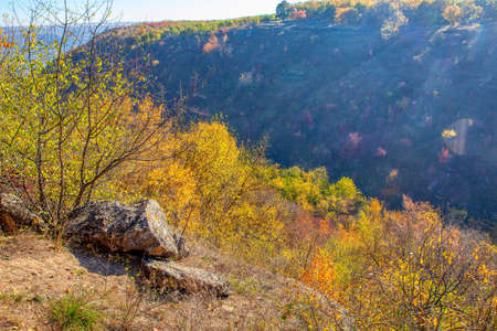 Autumn Nature on the top of Canyon . Fall scenery with natural rocks