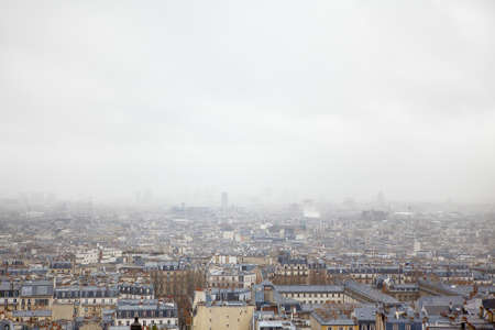 Paris city panorama in the foggy day Stok Fotoğraf