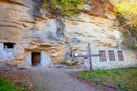 Hermit cell in the cliff . Monastery Rupestra from Saharna in Moldova
