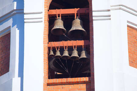 Belfry with set of church bells Stock Photo