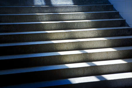 Staircase with sunlight . Stone city stairs