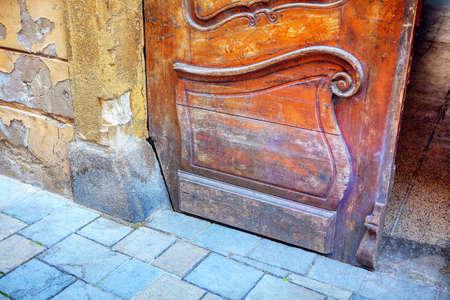 Archaic church wooden door . Entrance to the sanctuary Reklamní fotografie