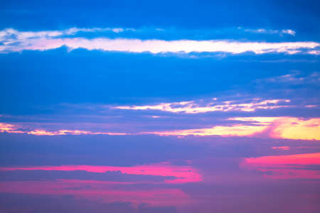 Calm evening sky with colorful clouds