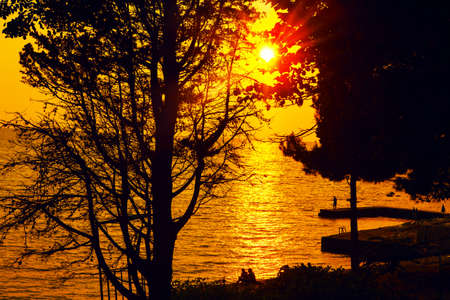 Orange beach sunset . Sun shining through the branches in the evening . Relaxing people on the seaside Stok Fotoğraf - 154892717