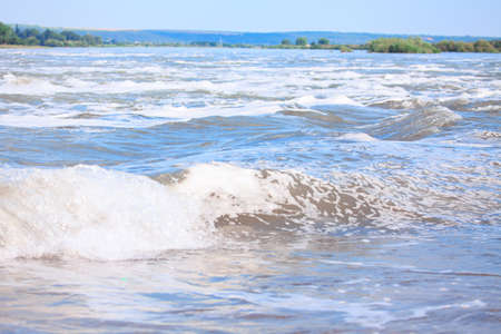 Wavy water surface of river current Stok Fotoğraf - 155128960