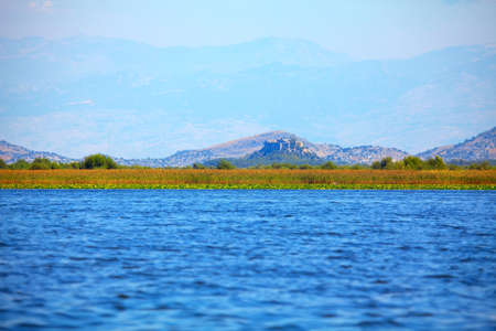 Skadar Lake National Park . Scenery of lake and mountains Stok Fotoğraf