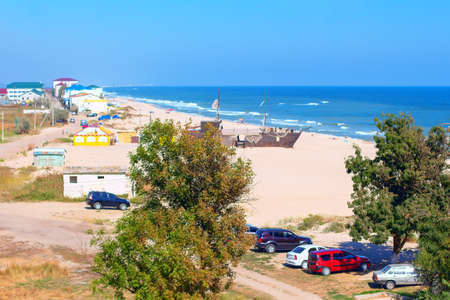 Camping and coastal resort . View of sandy beach scenery Stok Fotoğraf